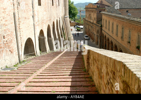 Steps leading to the much visited Ducal Palace in Urbino Le Marche The Marches Italy - Stock Photo