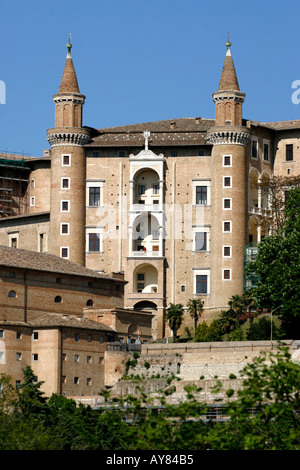 Twin towers at The much visited Ducal Palace in Urbino Le Marche The Marches Italy - Stock Photo