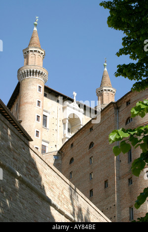 Dramatic Towers of the Ducal Palace in Urbino Le Marche ,the Marches, Italy - Stock Photo