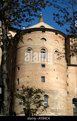 Round Tower at The much visited Ducal Palace in the historic city of Urbino ,Le Marche ,The Marches, Italy - Stock Photo