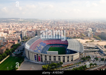AERIAL VIEW OF NOU CAMP STADIUM  IN BARCELONA CATALONIA  SPAIN - Stock Photo
