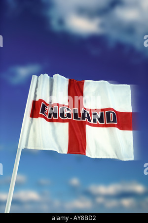 English flag of Saint George with England logo and blue sky white cloud background - Stock Photo