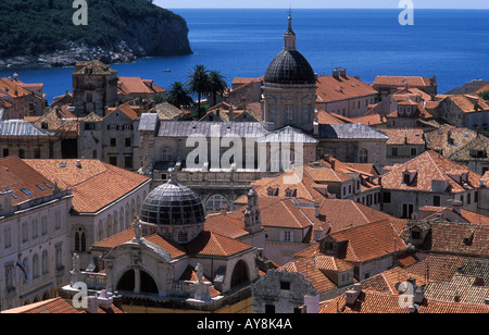 View of Dubrovnik old town from the city walls, showing traditional red roofs of buildings. Dubrovnik, Croatia - Stock Photo