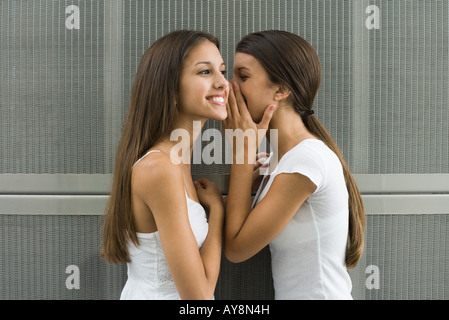 Teenage girl whispering in twin sister's ear, side view - Stock Photo