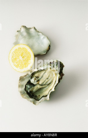 Raw oyster and lemon slice, high angle view - Stock Photo