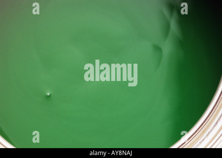 Green paint in paint can, extreme close-up, high angle view - Stock Photo