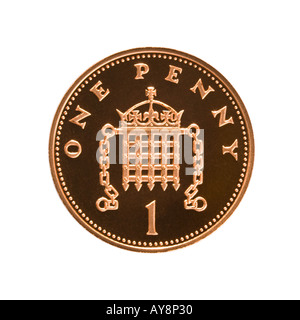 1 pence coin - Stock Photo