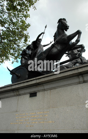 Queen Boadicea in war chariot statue next to next to Westminster Bridge in London, UK - Stock Photo