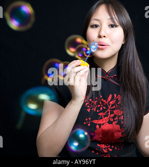 blowing bubbles - Stock Photo