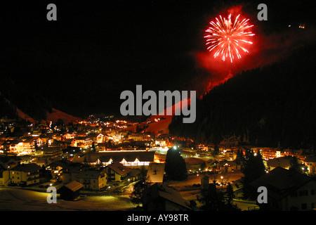 Firework display in Selva Gardena Italy - Stock Photo