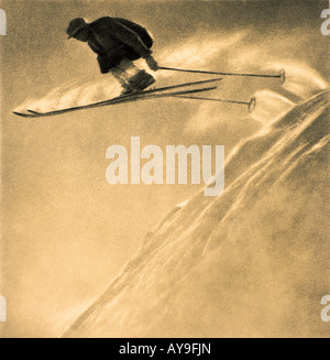 Skier in mid air action stunt in St Anton an Arlberg, Landeck, Tyrol, Austria - Stock Photo