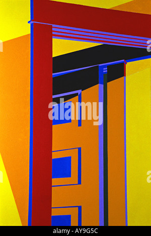 Abstract close up of painting in primary colors of red, blue, green, yellow lines forming squares rectangles and - Stock Photo
