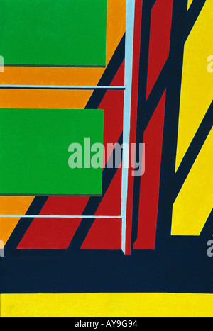 Art Abstract close up of painting in primary colors of red, blue, green, yellow lines and squares - Stock Photo