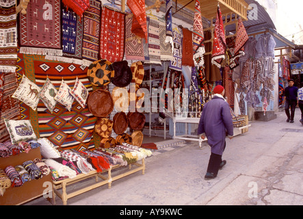 Tunisia, Sousse, Colourful shops in the Medina - Stock Photo