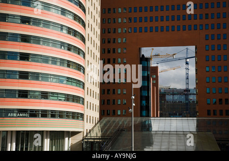 Left a buidling of ABN AMRO The public prosecutor s office of rotterdam. renovating area of rotterdam - Stock Photo