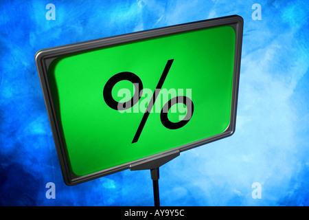 Stilisierter Aufsteller mit Prozentzeichen - Stock Photo