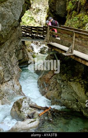 Weissbach Seisenbergklamm Canyon near Lofer Salzburger country Austria hiker - Stock Photo