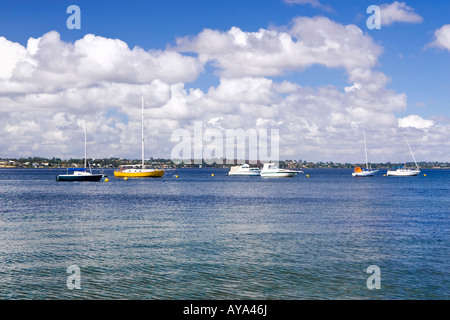 Yachts moored on the Swan River near Pelican Point, Matilda Bay, Perth, Western Australia - Stock Photo