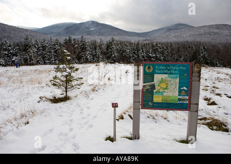 A informational kiosk on the grounds of the Appalachian Mountain Club's Highland Center in Crawford Notch - Stock Photo