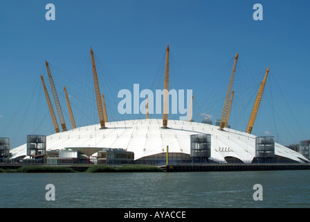 River Thames and Millennium Dome O2 arena Greenwich Peninsular London England UK - Stock Photo