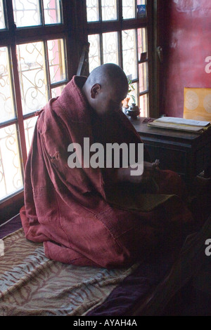 Tibetan monk meditating by a window in the Drepung Monastary in Tibet - Stock Photo