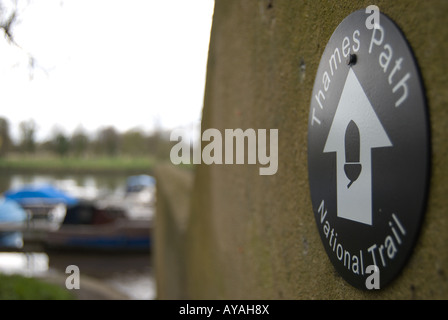 sign for the thames path, on the river thames, and national trail, in twickenham, middlesex, near london, england - Stock Photo