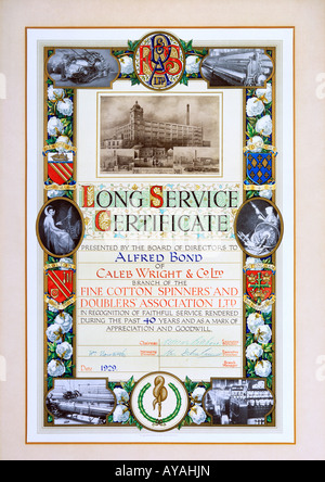 A photo of a long service certificate awarded in 1929 to an employee for working 40 years for the same cotton milling - Stock Photo