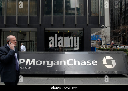 The sign outside the JP Morgan Chase headquarters in New York City - Stock Photo