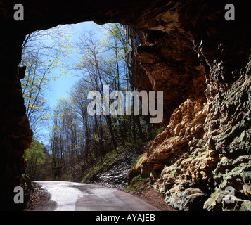 Interior view of the man made tunnel, Nada, Red River Gorge, Kentucky. - Stock Photo