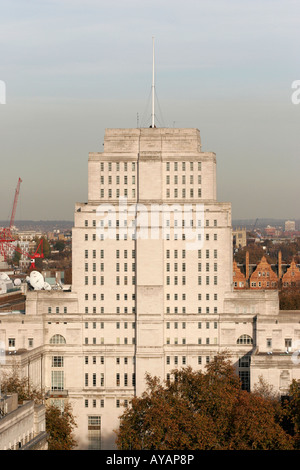 The Senate House of the University of London on Malet Street in central London viewed from a central London rooftop - Stock Photo