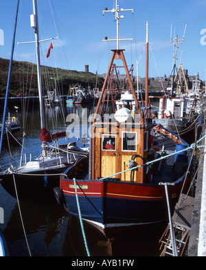 Wooden fishing boats in harbour, Port Erin, Isle of Man - Stock Photo
