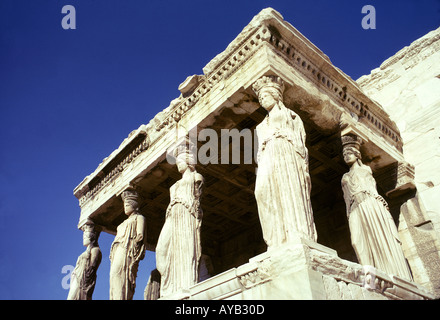 Caryatids of the Erechtheum 421 405 B C at the Acropolis site in Athens - Stock Photo