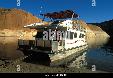 Houseboat on Lake Powell Colorado River - Stock Photo
