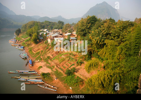 The Ou River and Nong Khiaw in Northern Laos - Stock Photo