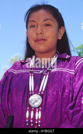 MR 540 Leinneah Chino, a Mescalero Apache, performs ethnic dance at Fort Stanton Heritage Days near Lincoln, New - Stock Photo