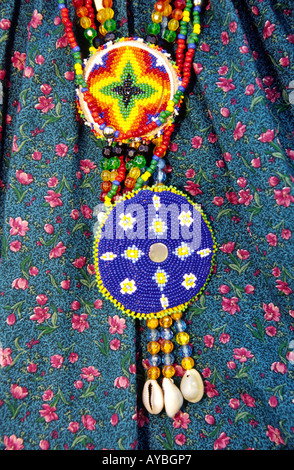 MR 541 A Native-American hand-beaded necklace is on display at Fort Stanton Heritage Days near Lincoln, New Mexico. - Stock Photo