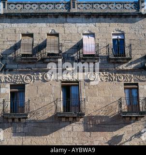Ciudad Rodrigo, Castile, Spain. Windows and balconies - Stock Photo
