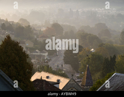Batheaston Bath BANES England UK A misty morning in the village - Stock Photo