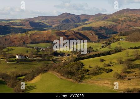 Wales, Denbighshire, Llangollen. View north from Castell Dinas Bran over Dinbren Hall and farmland towards Llantysilio - Stock Photo