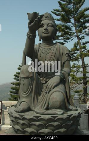 One of the statues at the base of the Big Buddha, lantau Island, Hong Kong. - Stock Photo