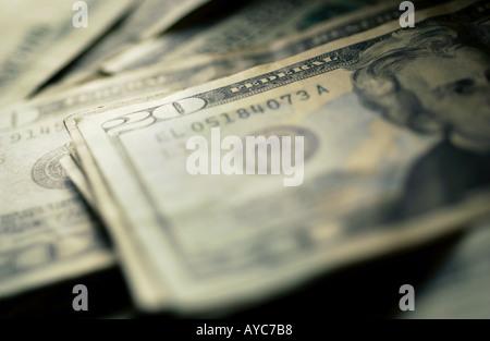 Pile of new US 20 dollar bills - Stock Photo