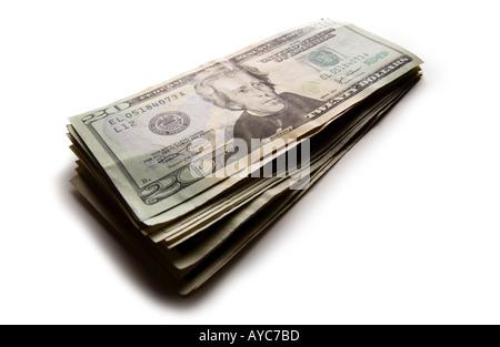 Stack of new US 20 dollar bills - Stock Photo