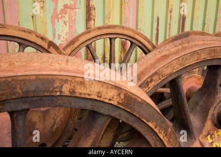 Rusty steam locomotive wheels - Stock Photo