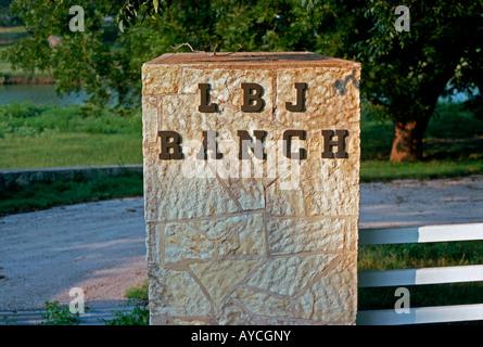 Entrance sign, LBJ Ranch, Stonewall, Texas, USA - Stock Photo