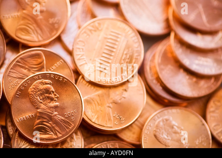American pennies - Stock Photo