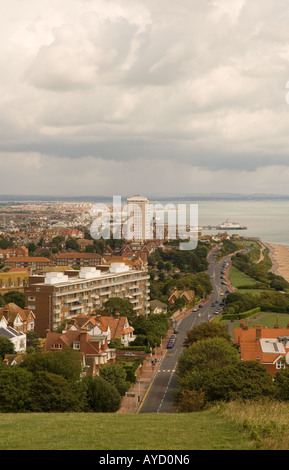 Looking East over Eastbourne, East Sussex United Kingdom from The South Downs Way, showing Duke's Drive and King - Stock Photo