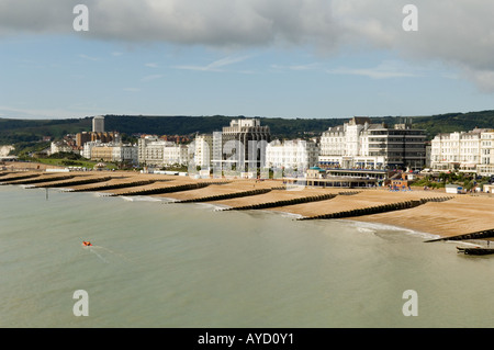 The beach Eastbourne viewed from the pier - Stock Photo