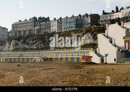 Viking Bay, Broadstairs, Kent, United Kingdom, showing beach chalets - Stock Photo