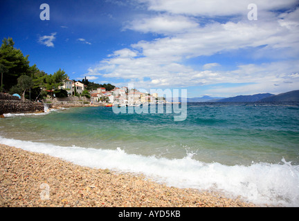 Beach at remote seaside village of Valun on Cres island, Croatia - Stock Photo