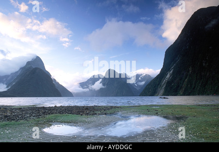 Milford Sound Fiordland National Park Southland South Island New Zealand - Stock Photo